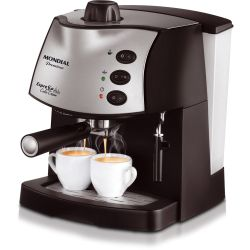 IMAGEM 5: CAFETEIRA EXPRESSO MONDIAL COFFEE CREAM PREMIUM - PRETA E PRATA